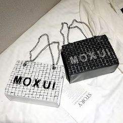 Polnocna - Lettering Tweed Handbag With Shoulder Strap