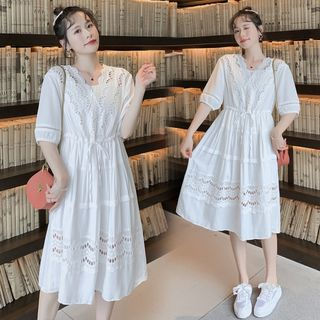 Hiccup - Maternity Eyelet Lace Elbow-Sleeve Shift Dress