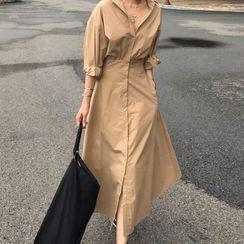 Muzly - Long-Sleeve Midi A-Line Shirt Dress