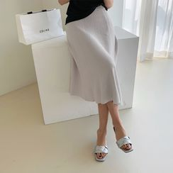 NANING9 - Knitted Flared Midi Skirt