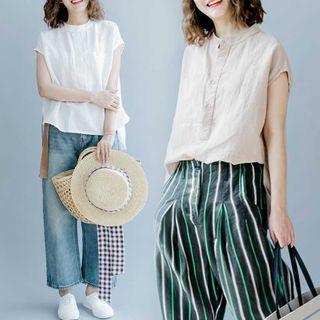 RAIN DEER - Mandarin Collar Short-Sleeve Blouse