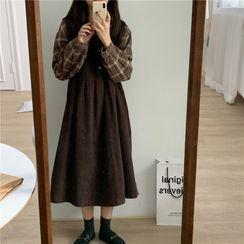 Leoom - Plaid Shirt / Corduroy Midi A-Line Overall Dress