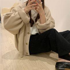 Cerauno - Plain Oversize Knit Cardigan