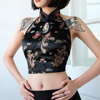 Dictynna - Sleeveless Open-Back Dragon Print Cropped Top