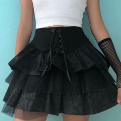 Genrovia - Lace-Up Tiered Mini A-Line Skirt