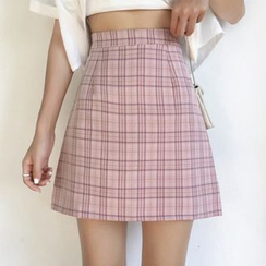 Glen Glam - Plaid A-Line Mini Skirt