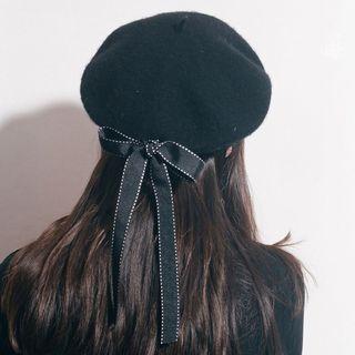 FROME - Baskenmütze aus Wolle mit Band