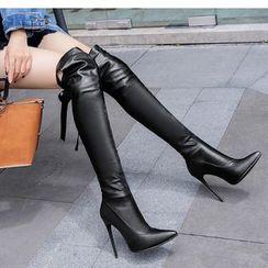 Freesia - 蝴蝶结高跟过膝靴