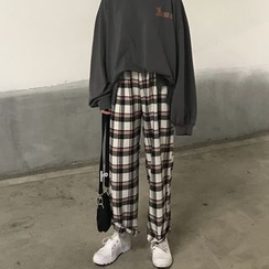 Chililala - Camiseta de manga larga con letras / pantalones anchos de cuadros