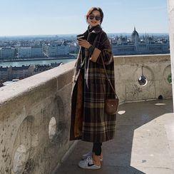 Ariadne - 单排扣格纹长款大衣