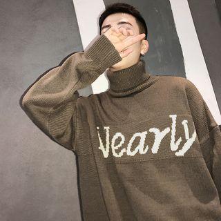 Litesap - Long-Sleeve Mock Neck Lettering Knit Top