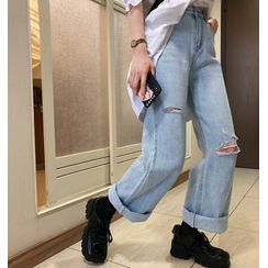 Tangan - Distressed High-Waist Straight-Cut Jeans