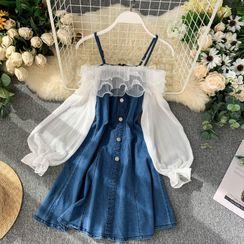 Lucuna - Cold-Shoulder Denim Midi A-Line Dress