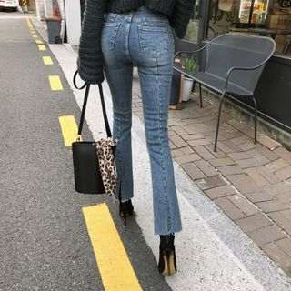 Moss Studio - 高腰开衩九分靴形牛仔裤
