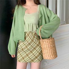 Attune - 幼肩帶針織上衣 / 純色開衫 / 格子迷你裙