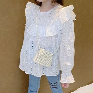 AMIS - Kids Ruffle Bell-Cuff Long-Sleeve Blouse