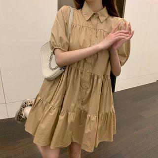 Ashlee - Short-Sleeve Mini A-Line Shirt Dress