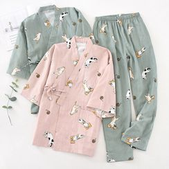 MelMount - Couple Matching Pajama Set: Cat Print Elbow-Sleeve Kimono Top + Pants
