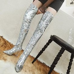 Aegina - Sequined Block Heel Over-The-Knee Boots