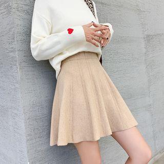 YAYAGREEN - Mini A-Line Knit Skirt