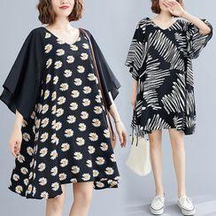 RAIN DEER - Elbow-Sleeve Printed Shift Dress
