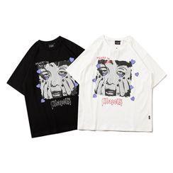 Oppa homme - Face Print Short-Sleeve T-Shirt