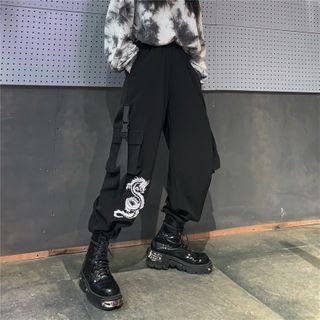 MELLO - Dragon Embroidery Wide-Leg Cargo Pants