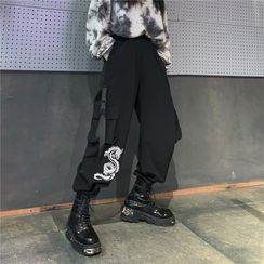 MELLO - Dragon Embroidery Wide-Leg Cargo Pants