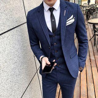 Besto - Set: Striped Blazer + Vest + Dress Pants