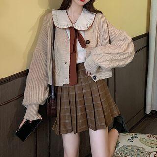 Shopherd - 領結帶襯衫 / 開衫 / 百褶格子裙