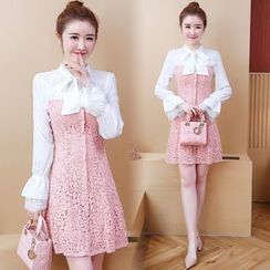 Heyto - Mock Two-Piece Long-Sleeve Lace A-Line Dress