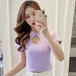 MePanda - Mandarin Collar Short-Sleeve Cropped T-Shirt