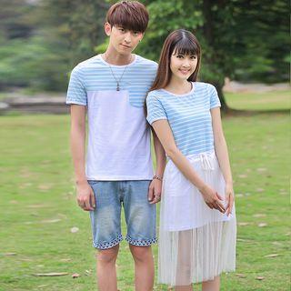 Igsoo - Couple Matching Stripe Panel Short-Sleeve T-shirt / Short-Sleeve Tulle Dress