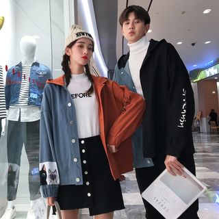 Balak - Couple Matching Color Block Button Jacket
