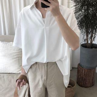 JUN.LEE - Elbow-Sleeve Plain Shirt