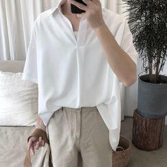 子俊 - 中袖純色襯衫