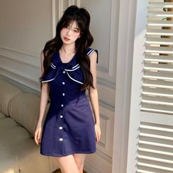 Strawolf - Short-Sleeve Sailor Collar A-Line Dress