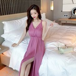 Yuxi - Twisted Strap V-Neck Slit Midi A-Line Dress