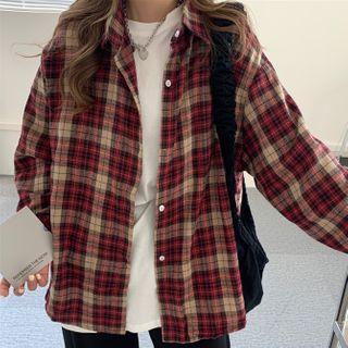 Dute - Plaid Shirt / Elbow-Sleeve T-Shirt