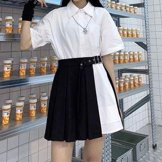 Malnia Home - Short Sleeve Button-Up Shirt / Pleated Mini A-Line Skirt