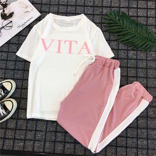 DazTRUE - Set: Short-Sleeve Letter T-Shirt + Harem Pants