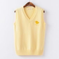 Candy House - Chick Embroidered Knit Vest