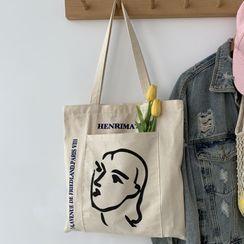 kissogram - Lettering Face Print Tote Bag