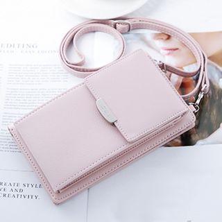 lunacove - Faux Leather Long Wallet With Shoulder Strap