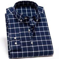 ANSTON - Plaid Long-Sleeve Shirt / Striped Long-Sleeve Shirt