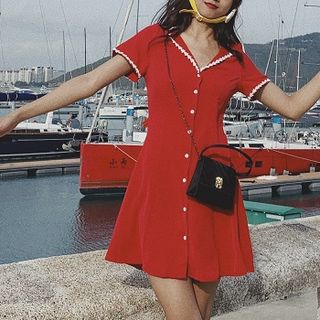 TOHADA - Short-Sleeve Floral-Trim Mini A-Line Sundress