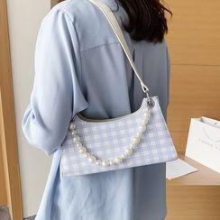JAMEL(ジャメル) - Faux Pearl Plaid Shoulder Bag