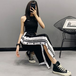 Nigella - 高腰薄款侧纽扣阔腿运动裤