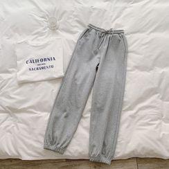 Tomato Shop - 纯色抽绳直筒裤