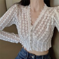 Flowerisque - Long-Sleeve Lace Top